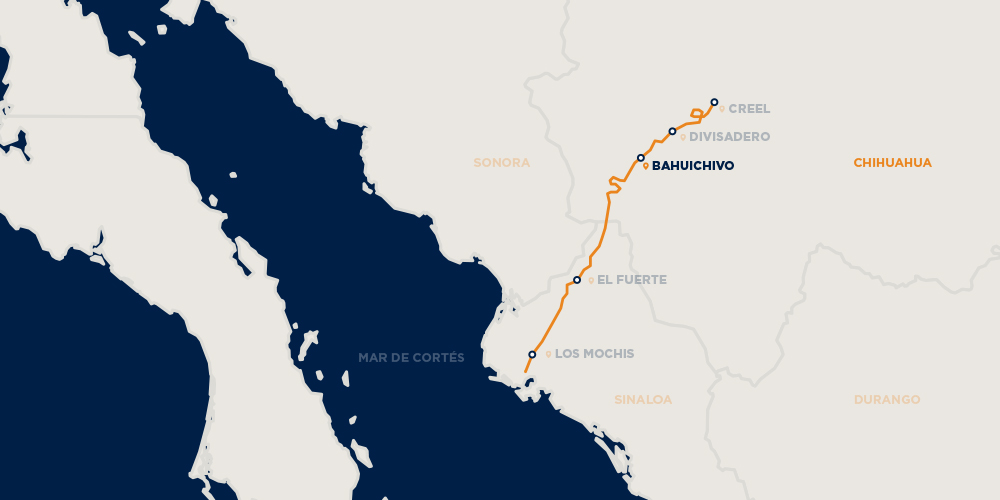 Mapa del tren turístico chepe en México
